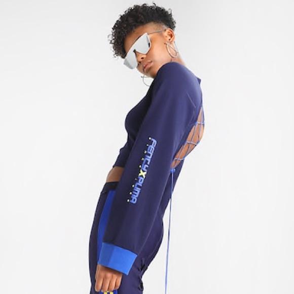 Puma x Fenty by Rihanna Womens Laced Sweatshirt Evening Blue Size  M XL